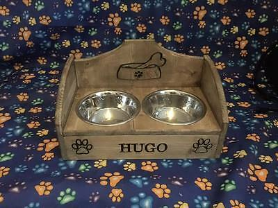 raised dog bowls feeder personalised engraved pine special version