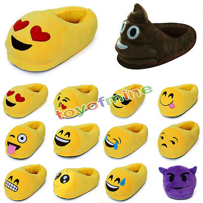 Mens Womens Cute Emoji Expression Slippers Winter Warm Pajamas Home Indoor Shoes