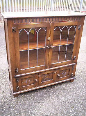 Superb Oak Bevan Funnell Lowline Bookcase Side Cabinet Reprodux