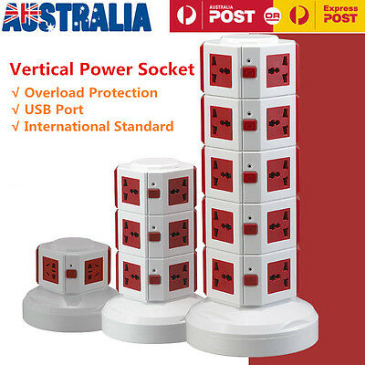 Vertical Power Socket Powerboard Outlet Plug 9 Ways Extension 6 USB Jack Charger