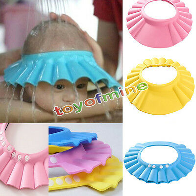 New Adjustable Baby Shower Cap Children Shampoo Bath Wash Hair Shield Hat Blue
