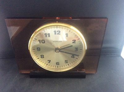 Vintage Retro 70s Scottish WESTCLOX Mantle Clock Fully Working Lucite Perspex