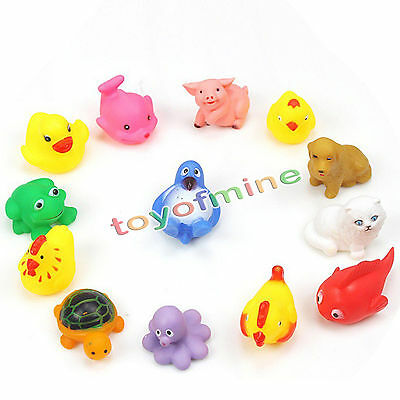 13 pcs Animals Kids Toys Soft Rubber Float Sqeeze Sound Baby Wash Bath Play