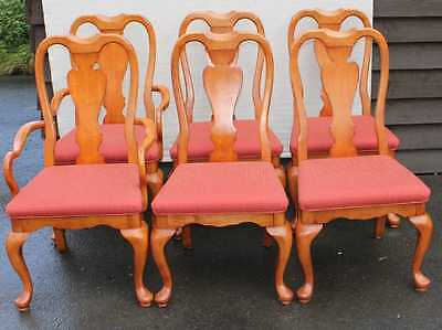 Set 6 Sturdy Country Mahogany Dining Chairs pop out seats. 4+2 Shaped Legs.