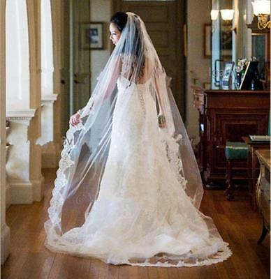 New church 2M white ivory wedding bridal accessories veil Lace Edge with comb