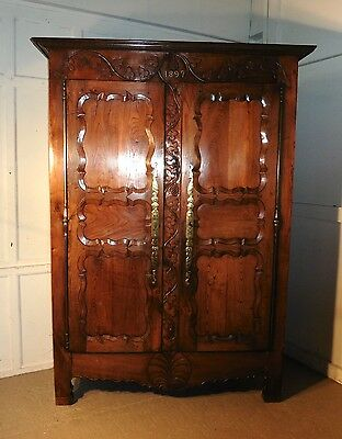 Superb Breton Elm Armoire, or Housekeeper's  Cupboard or Wardrobe