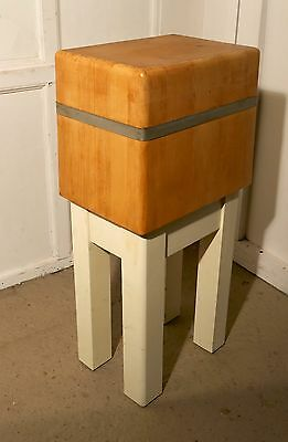 A French Vintage Sycamore Butchers Block with painted legs