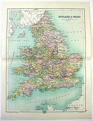 Original 1909 Map of England & Wales by John Bartholomew