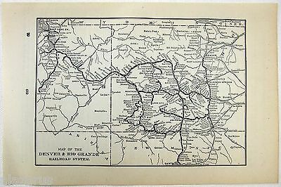 Original 1902 Map of the Denver & Rio Grande Railroad