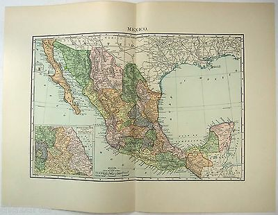 Original 1895 Map of Mexico by Rand McNally