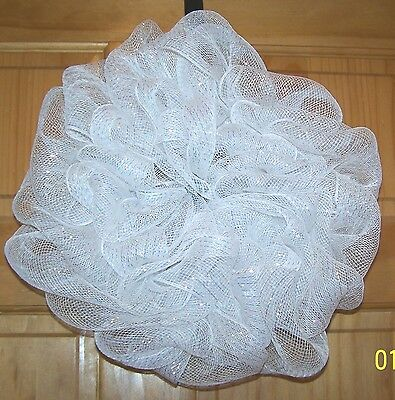 """Handmade Polly Deco Mesh Wreath. White With Shimmer Thread Throughout. 16"""""""