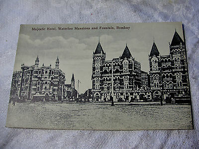 J20 - MAJESTIC HOTEL - WATERLOO & FOUNTAIN - BOMBAY India - POSTCARD