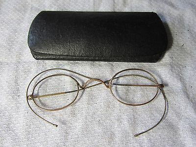 Lot F - Vintage Small Round Gold Filled SPECTACLES in Metal Glasses Case