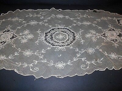 FRANCE Needle Run Antique Handmade NET LACE Runner Ivory Silk w/ Rasied Florals