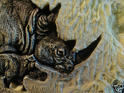 Rhinoceros Etched on Stone-like Resin