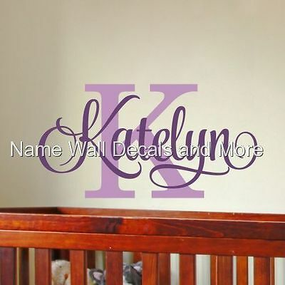 Girls Personalized Name Initial Vinyl Wall Decal Nursery Bedroom Decor Dorm
