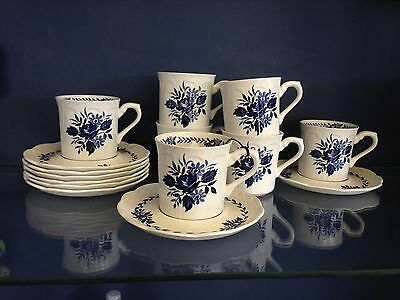 J&G Meakin England Dresden Blue Demitasse Cups and Saucers Set of 7