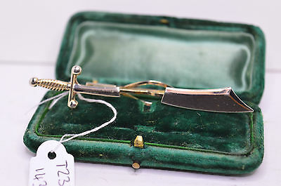Vintage yellow/white metal tie clip with sword design #T235