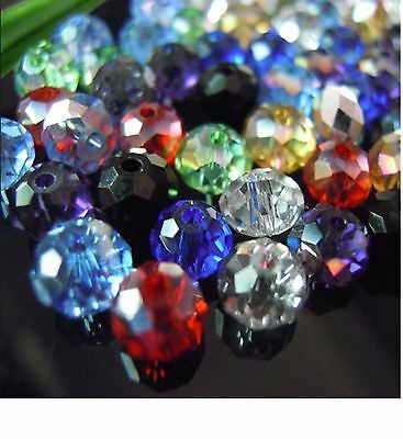 50-1000 Faceted MIXED Rondelle Crystal Glass Beads 6mm & 8mm AAA
