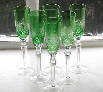 6 x Stunning Bohemian Green Cut to Clear Glass Champagne Flutes