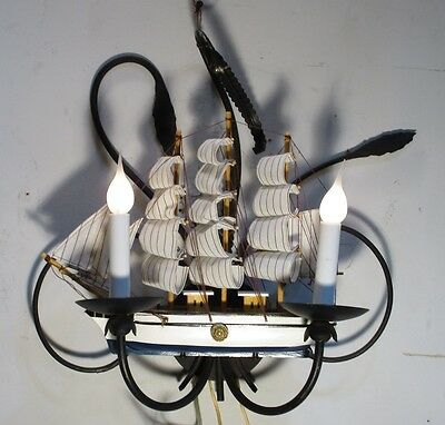 Vintage Sconce Ship Unique Naval  Wrought Iron Wall Lamp Light Fixture