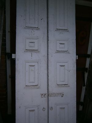 1800's Original Raised Panel Shutters Batten Board w/ Strap Hinges 94 1/2