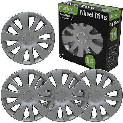 14 Inch Wheel Trim Set of 4 Silver Universal Fitting Caps Covers Wheel Trims NEW