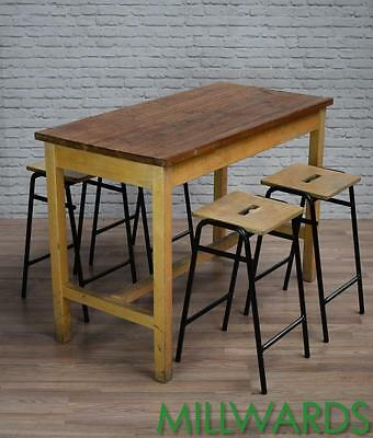 Vintage Industrial School Lab Iroko Top Cafe Bar Tables 25 AVAILABLE (inc VAT)