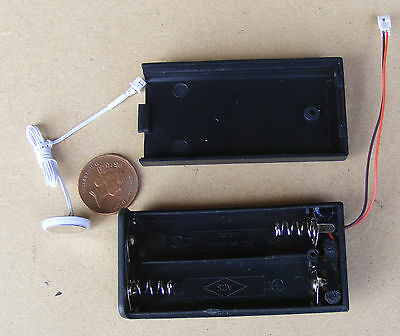 Dolls House Miniature LED Light AA Battery Holder Power Supply + On Off Switch