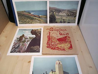 RAILROAD 1943 Southern Pacific SCENIC GRANDEUR OF THE WEST 16 Color Prints