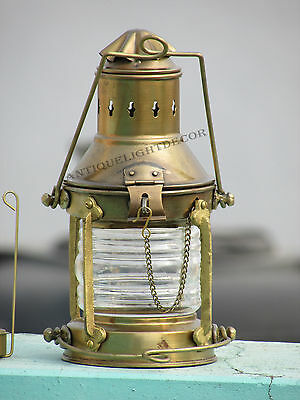 Brass & Copper Anchor Oil Lamp Nautical Maritime Ship Lantern Boat Lights