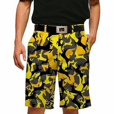 Loudmouth Golf NEW Stag Party Yellow Black Orange Shorts Size 32 NWT