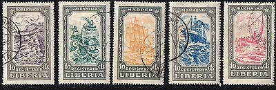 Liberia stamps. 1924 Ships. Cancelled