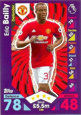2016/2017 Topps Match Attax card 186 Eric Bailly - Manchester United
