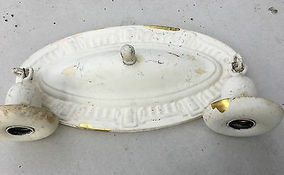 Original Antique Vtg 1920s Art Deco FarmHouse Brass Ceiling Light Fixture