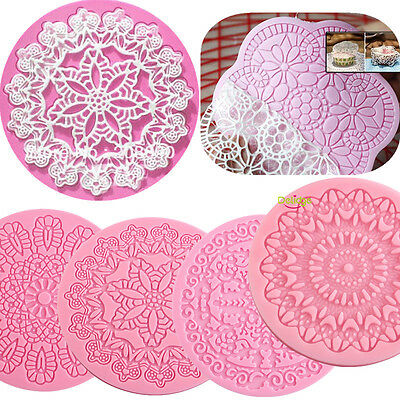 Round Lace Flower Fondant Silicone Mold Mould Cake Decoration Baking Mat Tools
