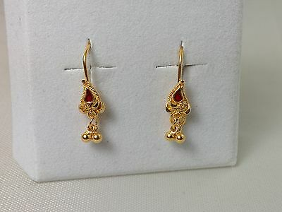 22k Solid Yellow Gold Earrings Hanging / Dangling With Red Enamel 916