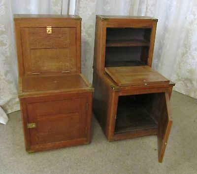 A Pair of 19th C Campaign or Steamer Library Steps, Oak Cabin Bedside Tables