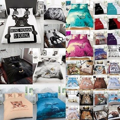 3D Effect Animal Print Quilt Cover Bedding Sets With Pillow Case All Size New