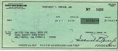 Vincent Price-Signed Bank Check