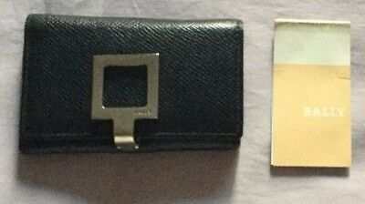 BALLY Wallet Key Chain Holder 6 Ring Case Black Leather