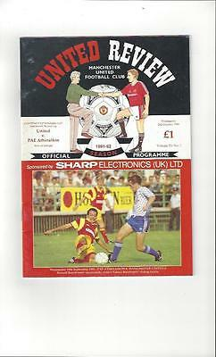 Manchester United v Pae Athinankos European Cup Winners Cup Programme 1991/92
