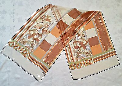 Vintage Mila Schon Striped Wild Flowers Brown Orange Silk Long Women's Scarf