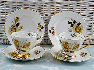 Vintage Bone China Royal Imperial Tea Cup Saucer Plate Trio Yellow Roses Gilded