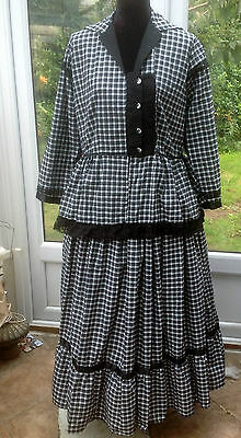 Ladies Black White Check Twopiece Outfit Western or Forties Style Re-enactment