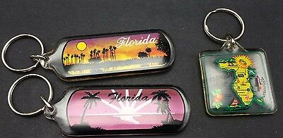 3 Florida Souvenir Keychains Map Sunsets Palm Trees Key Rings Fobs