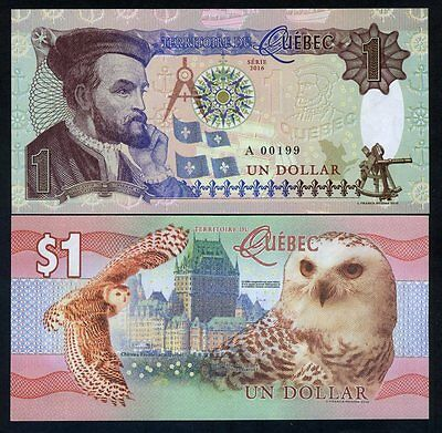 Quebec, Canada, $1, 2016, Private Issue, Essay UNC - Snow Owl, Jacques Cartier
