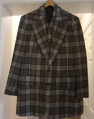 Vtg 70's Grey Plaid, 3-pc Wool Suit