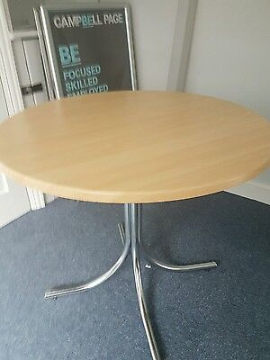 Round Office meeting tables 890mm with Chrome crossed legs