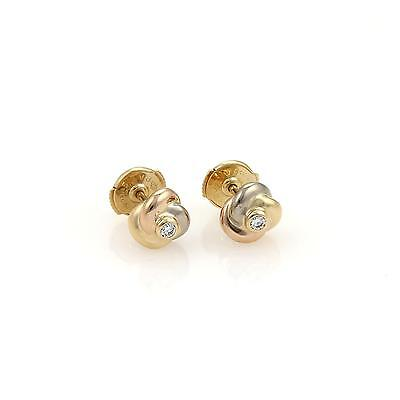 Cartier Trinity Diamond 18k Tri Color Gold Love Knot Stud Earrings